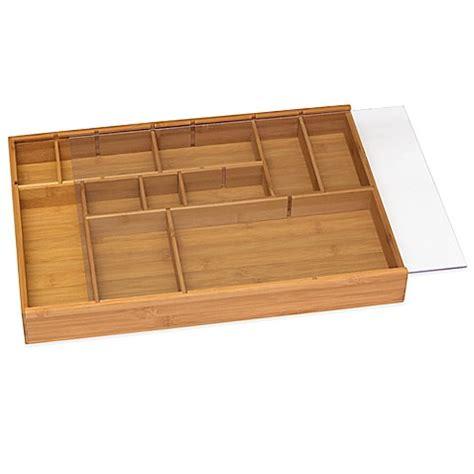 adjustable bamboo drawer organizer buy lipper bamboo adjustable drawer organizer with acrylic