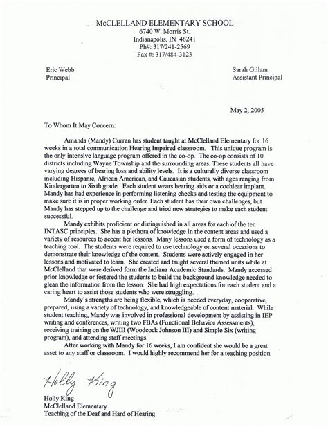 Reference Letter For Special Education Aide Letters Of Recommendation