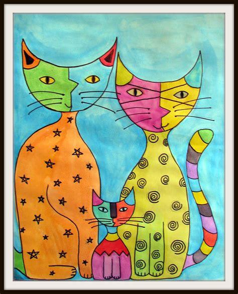 children s painting cat plateau studio abstract katz
