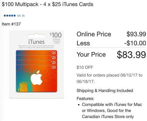 Itunes Gift Card Online Sale - 20 off sale on itunes cards are back at costco stores and online iphone in canada