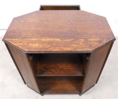 octagonal shaped oak coffee table bookcase 127713