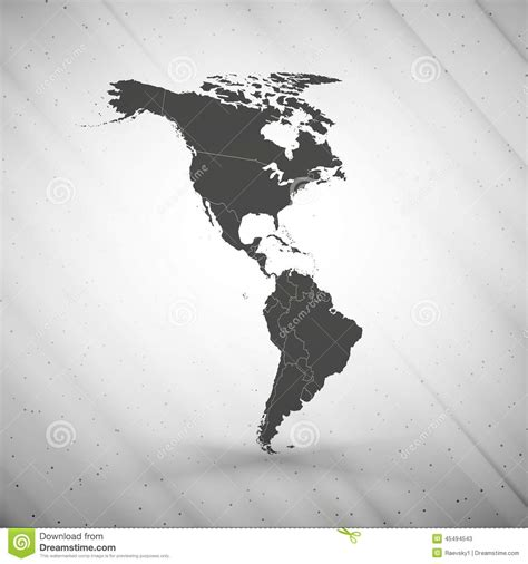 america map gray and south america map on gray background stock