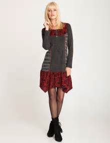 Patchwork Style - kleid im patchwork style grau rot