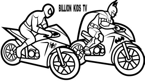 batman motorcycle coloring page color motorcycles w spiderman and batman coloring pages