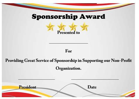 sponsor certificate template 12 certificates of appreciation for sponsorship