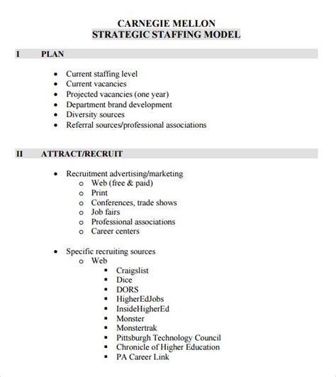 staffing templates sle staffing model 6 documents in pdf excel