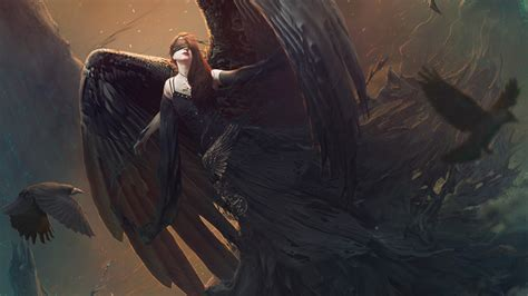 wallpaper angel darkness digital art  fantasy
