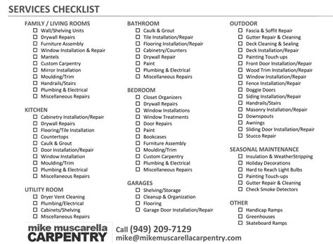 Handyman Orange County Home Repair List Template