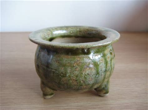 Handmade Pots - greeny pottery handmade pot for orchid neofinetia falcata