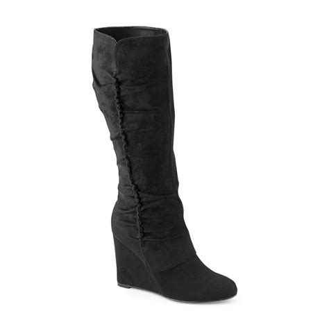 womans wedge boots womens black wedge boots tsaa heel