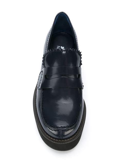 jil sander loafer jil sander navy scalloped leather platform loafers in blue
