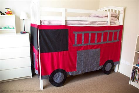 bunk bed covers diy fire engine bunk bed tent children s bedroom ideas pinterest