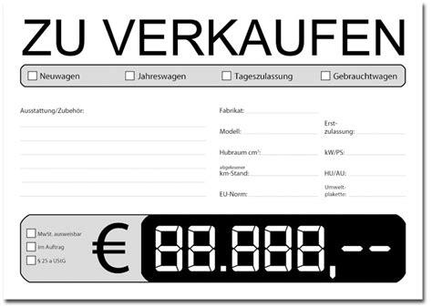 Verkaufsanzeige Auto Vorlage by Din A3 Preisschilder Pkw Gebrauchtwagen Auto Kfz