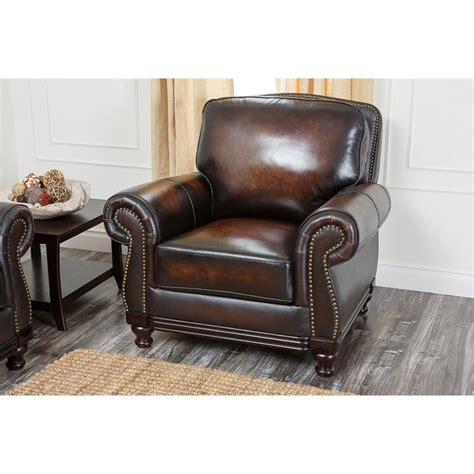 Abbyson Living Chair abbyson living barclay leather arm chair in espresso ci