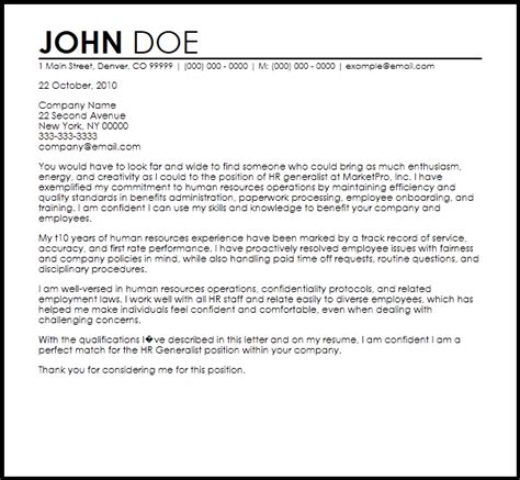 hr generalist cover letter templates cover letter