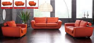 Orange Modern Sofa Orange Top Grain Leather Modern Sofa W Optional Chair Loveseat