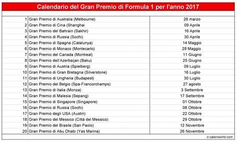 Calendario F 1 Calendario Cionato Mondiale Di F1 2017 Calendario