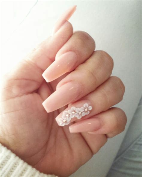 3d Nails by Coffin Style Nails With 3 D Flowers Nailed It