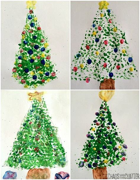 painted hand christmas trees dish brush tree with fingerprint ornaments
