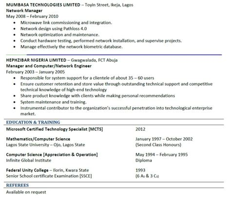 format of a good cv in nigeria good cv sle jobs vacancies nigeria