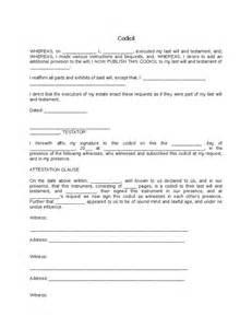 Codicil Template by Free Codicil Template Last Will Testament Form Print Free
