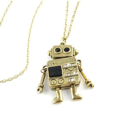 Retro Pendant Necklace retro robot pendant necklace