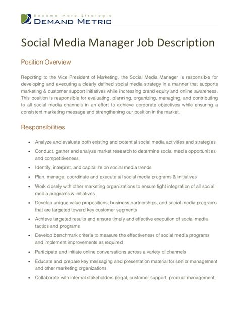 social media manager description social media manager description