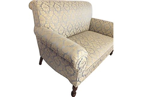 damask settee gorgeous blue damask settee antique newly upholstered