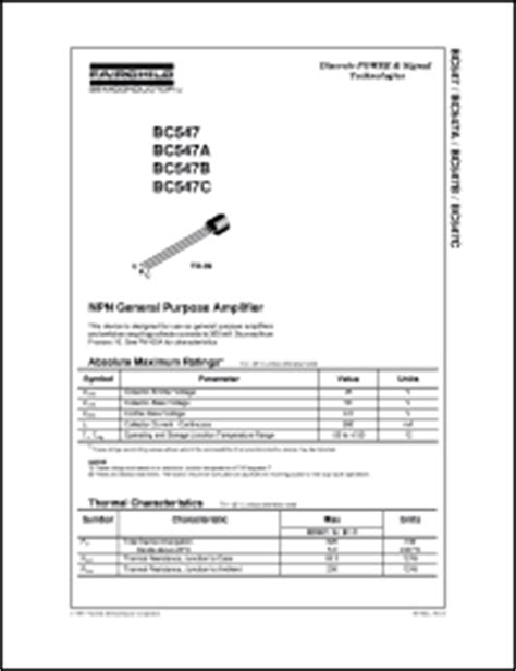 bc547 transistor fairchild bc547b datasheet npn general purpose lifier from fairchild semiconductor