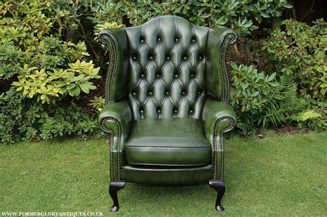 second hand armchairs uk antique green leather chesterfield button wing back