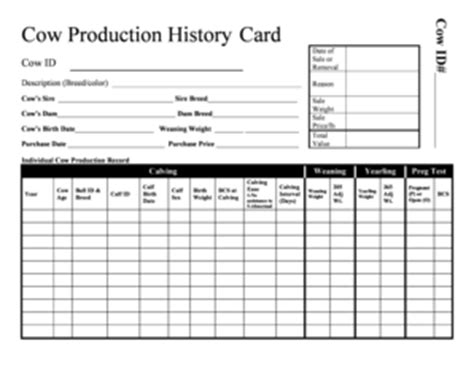 History Card Template by Livestock Forms Of Production Records Fill