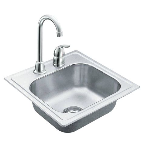 Outdoor Bar Sink With Faucet by Moen 2000 Series Drop In Stainless Steel 15 In 2