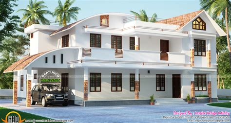 Modern curved roof home   Kerala home design and floor plans