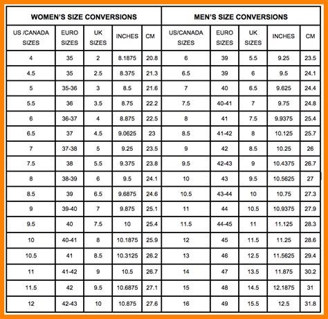 mens womens shoe size chart converting womens to mens