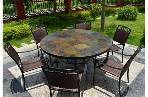 125 160cm Round Slate Patio Dining Table Tiled Mosaic Oceane Slate Top Patio Table