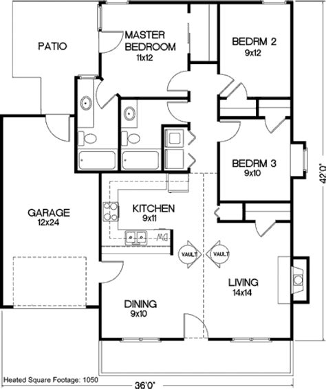 56 sq ft cottage style house plan 3 beds 2 baths 1050 sq ft plan
