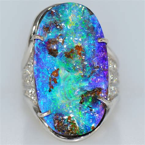 Large 17 Ct Vivid Australian Opal Ring 18k White