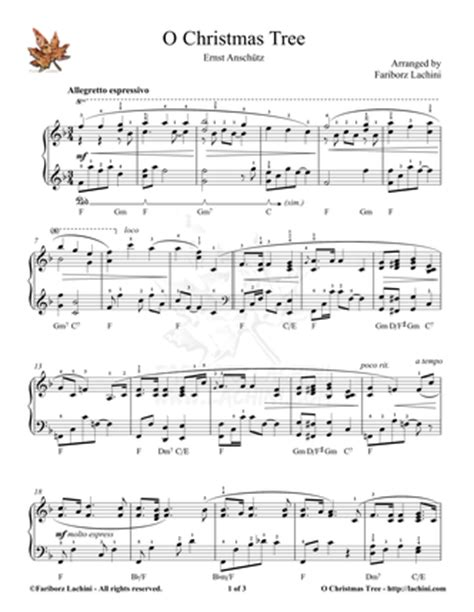 o christmas tree variation pdf sheet music o tree piano