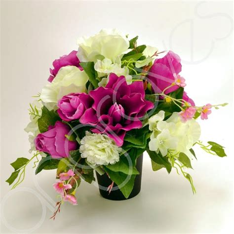 graveside silk flower arrangements lili purple ivory artificial flower arrangement