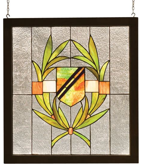 24 quot w x 26 quot h shield wood frame stained glass window