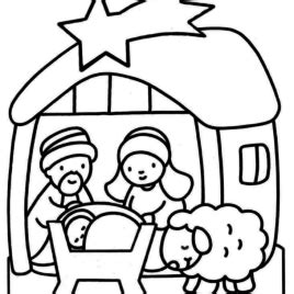 coloring page of baby jesus in a manger manger coloring page clipart best