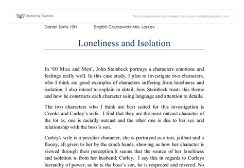 Loneliness Essay Of Mice And by Loneliness And Isolation In Of Mice And Gcse Marked By Teachers