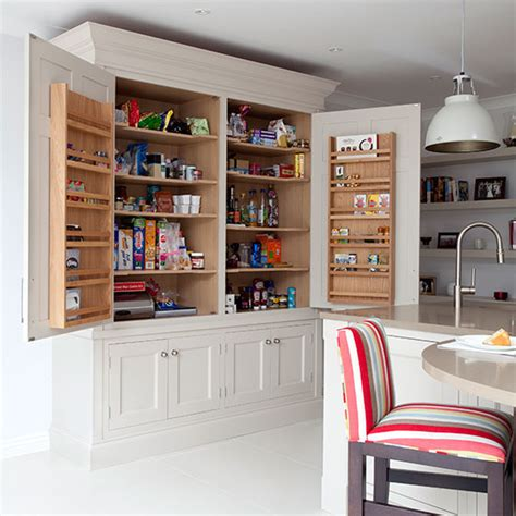 Larders And Pantries by Pale Grey Kitchen With Shaker Style Larder Cupboard Kitchen Decorating Ideal Home