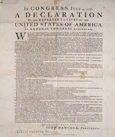 Rare original copy of the declaration of independence on exhibit at