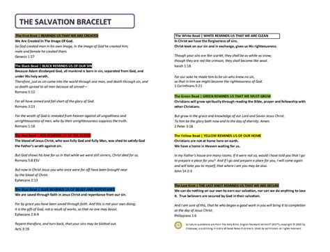 Salvation Bracelet Printable