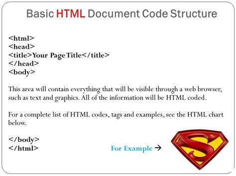 basic html template code creating webpage using html ppt