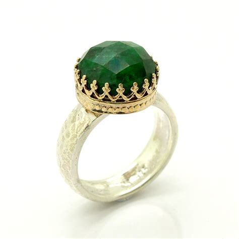 emerald ring set in gold lace and sterling silver by