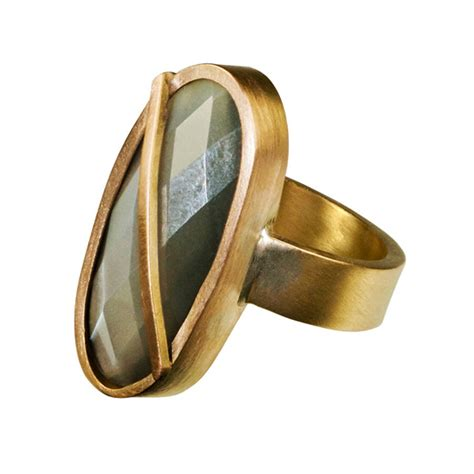 gold faceted chunky gold faceted moonstone ring by farah qureshi