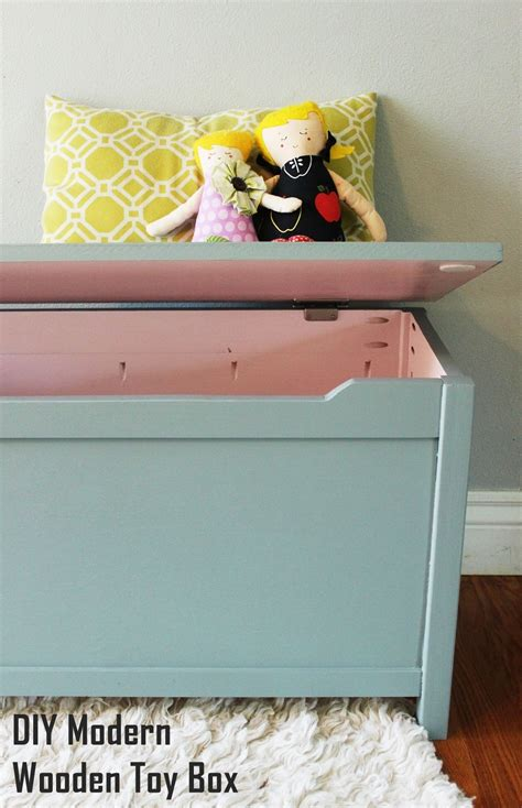 diy modern wooden toy box  lid  step  step tutorial