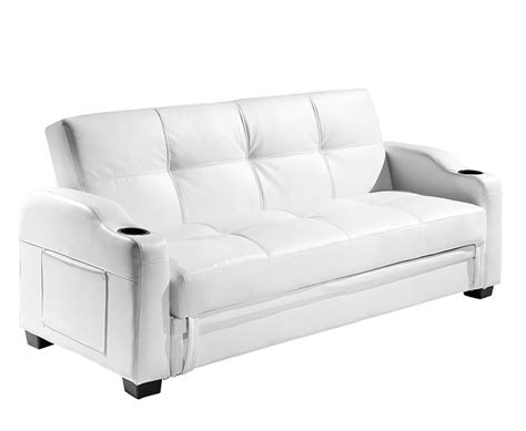 Sofa Bed White Leather Lillian 109cm White Faux Leather Sofa Bed
